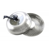 Сковорода гриль-газ D-519 (нержавеющая сталь, съёмная ручка, стеклянная крышка)
