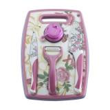 Подарочный набор кухонный Zeidan Z-3077 5пр. 2ножа+доска разделочная+овощечистка+точилка